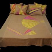 Ágytakaró lenvászon - Lotus, 5 db párnával